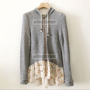 Gray Zip Up Hoodie with Floral Ruffle/Peplum